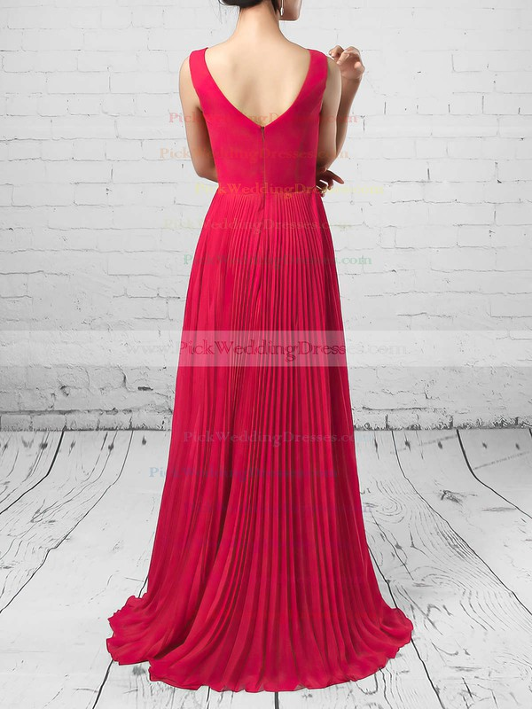 A-line V-neck Chiffon Floor-length Split Front Bridesmaid Dresses #PWD01013579
