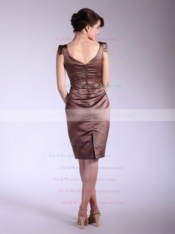Sheath/Column Knee-length Satin Sashes/Ribbons V-neck Bridesmaid Dresses #PWD02042143