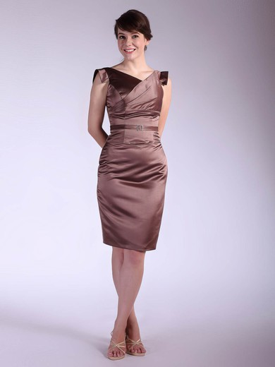 Sheath/Column Knee-length Satin Sashes/Ribbons V-neck Bridesmaid Dresses #PWD02042143