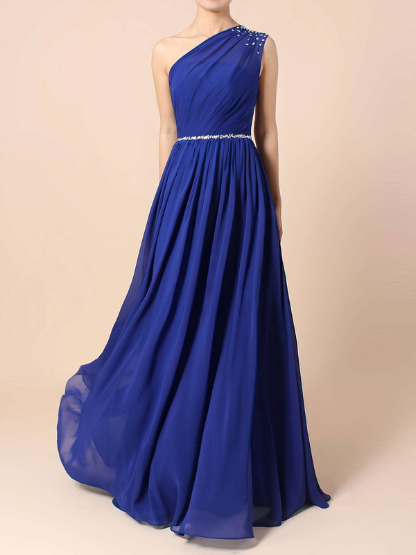 A-line One Shoulder Chiffon Floor-length Beading Bridesmaid Dresses #PWD01013586