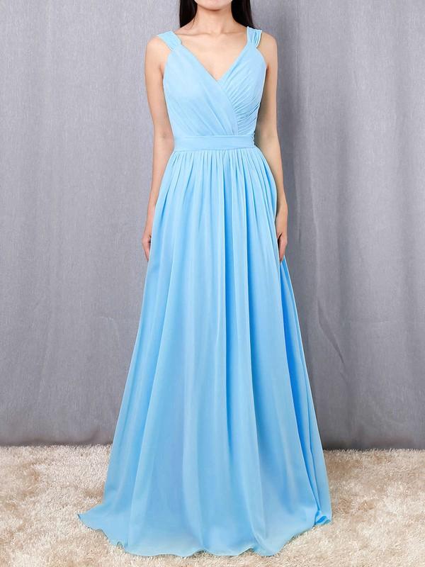 A-line V-neck Chiffon Floor-length Sashes / Ribbons Bridesmaid Dresses #PWD01013520