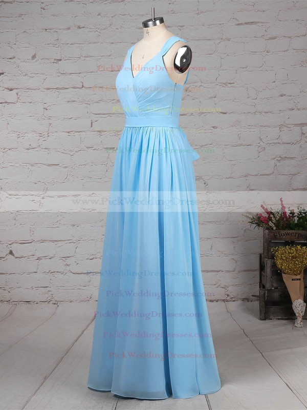 A-line V-neck Chiffon Floor-length Sashes / Ribbons Bridesmaid Dresses #PWD01013520