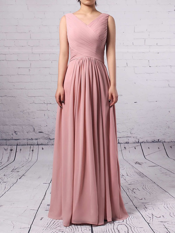 Empire V-neck Chiffon Floor-length Ruffles Bridesmaid Dresses #PWD01013481