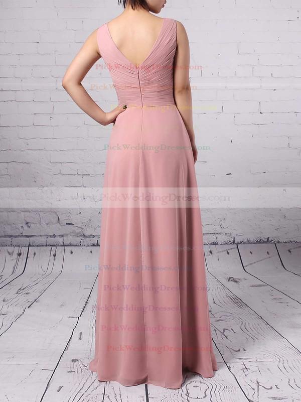 Empire V-neck Chiffon Floor-length Ruffles Bridesmaid Dresses #PWD01013481
