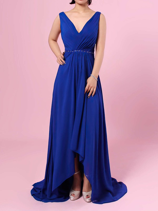 A-line V-neck Chiffon Asymmetrical Beading Bridesmaid Dresses #PWD01013565