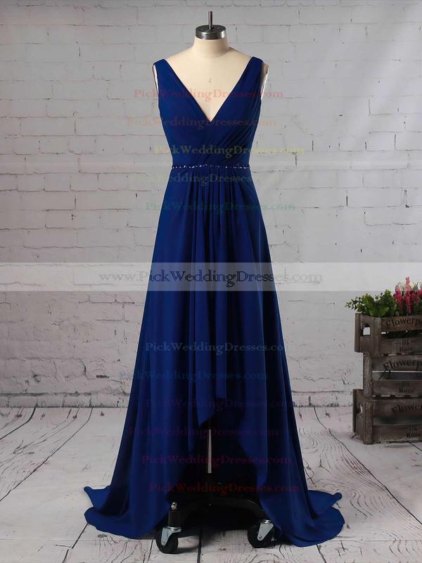 A-line V-neck Chiffon Asymmetrical Beading Bridesmaid Dresses #PWD01013565