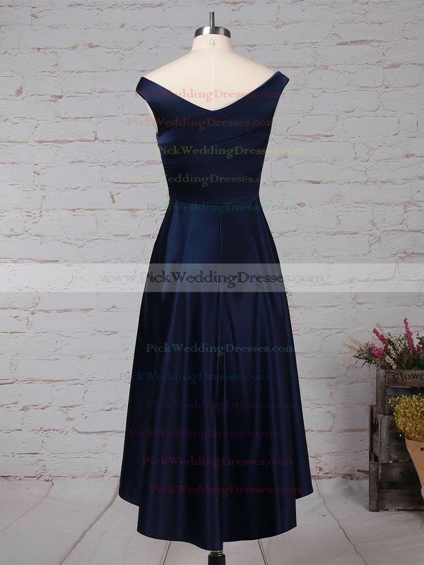 A-line Off-the-shoulder Satin Asymmetrical Ruffles Bridesmaid Dresses #PWD01013570