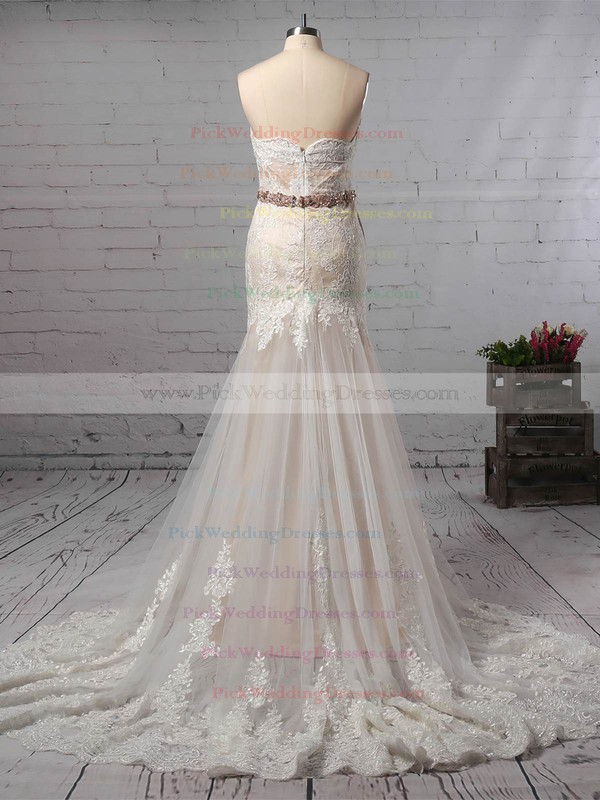 Trumpet/Mermaid Sweetheart Lace Tulle Watteau Train Sashes / Ribbons Wedding Dresses #PWD00023140