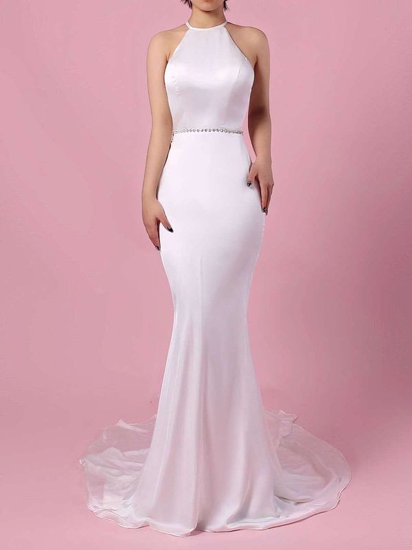 Trumpet/Mermaid Scoop Neck Chiffon Sweep Train Sashes / Ribbons Wedding Dresses #PWD00023145