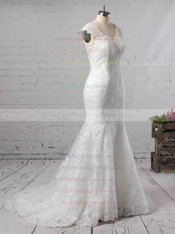 Trumpet/Mermaid V-neck Tulle Sweep Train Appliques Lace Wedding Dresses #PWD00023187
