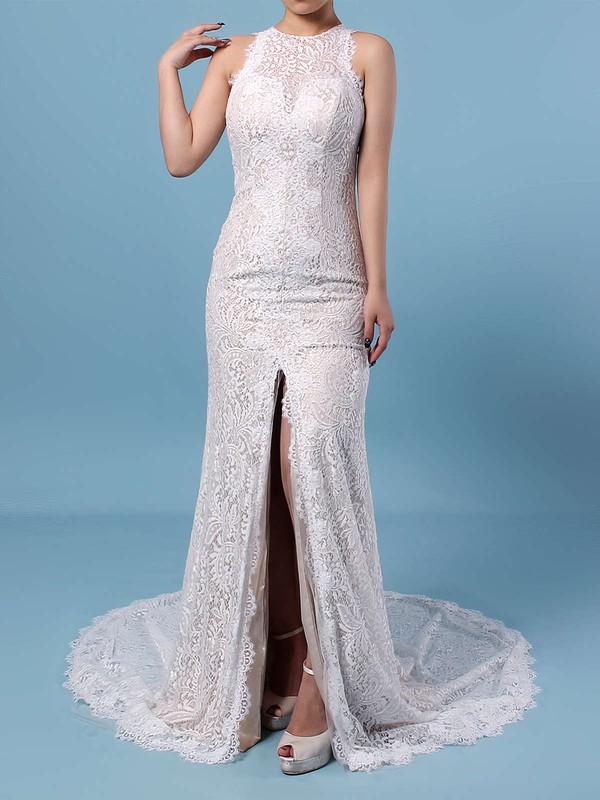 Sheath/Column Scoop Neck Lace Sweep Train Split Front Wedding Dresses #PWD00023287