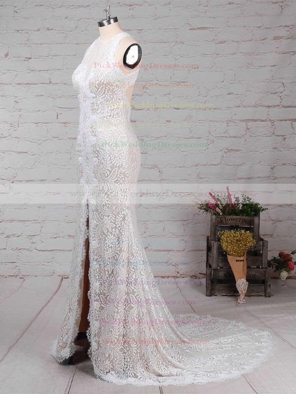 Sheath/Column Scoop Neck Lace Sweep Train Split Front Wedding Dresses #PWD00023287