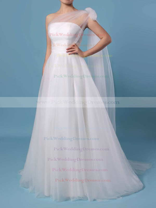 A-line Strapless Tulle Sweep Train Ruffles Wedding Dresses #PWD00023347