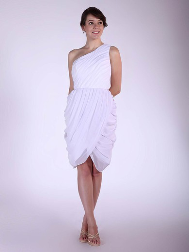A-line Knee-length Chiffon Pleats One Shoulder Bridesmaid Dresses #PWD02042144