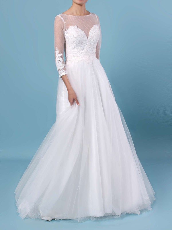 A-line Scoop Neck Tulle Floor-length Appliques Lace Wedding Dresses #PWD00023348