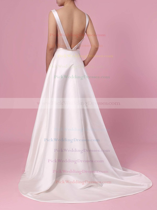 A-line V-neck Satin Sweep Train Beading Wedding Dresses #PWD00023350