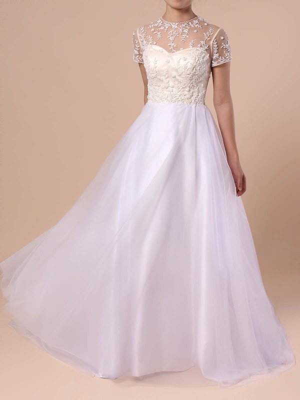 Princess Scoop Neck Tulle Sweep Train Beading Wedding Dresses #PWD00023351
