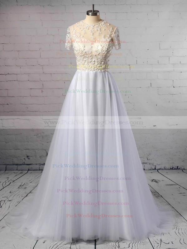 Princess Scoop Neck Tulle Sweep Train Beading Wedding Dresses #PWD00023351