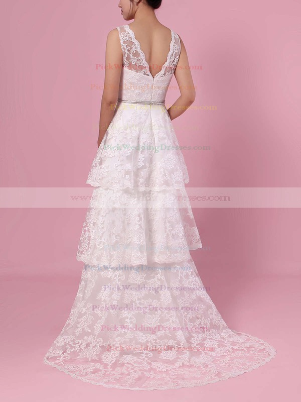 A-line V-neck Lace Sweep Train Beading Wedding Dresses #PWD00023353