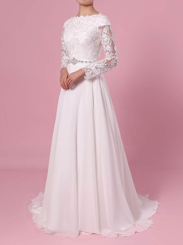 A-line Scoop Neck Lace Chiffon Sweep Train Beading Wedding Dresses #PWD00023355