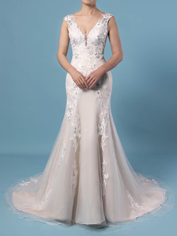 A-line V-neck Tulle Sweep Train Appliques Lace Wedding Dresses #PWD00023356