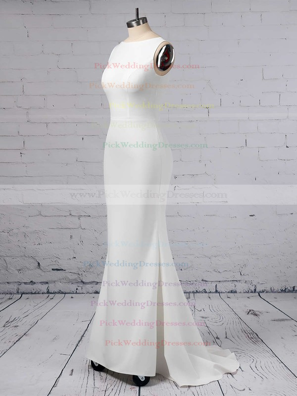 Sheath/Column Scoop Neck Satin Chiffon Sweep Train Wedding Dresses #PWD00023357