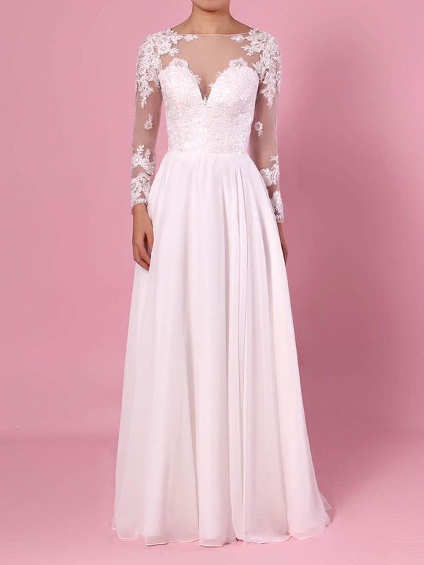 A-line Scoop Neck Chiffon Tulle Floor-length Beading Wedding Dresses #PWD00023359