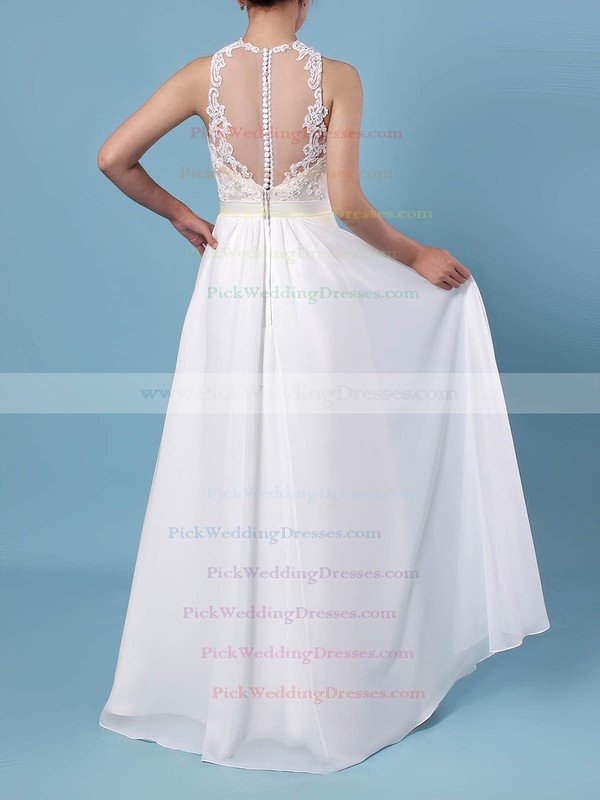 A-line Scoop Neck Chiffon Tulle Floor-length Beading Wedding Dresses #PWD00023360