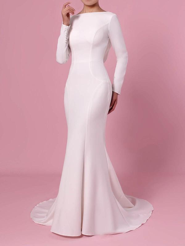 Trumpet/Mermaid Scoop Neck Silk-like Satin Sweep Train Wedding Dresses #PWD00023362