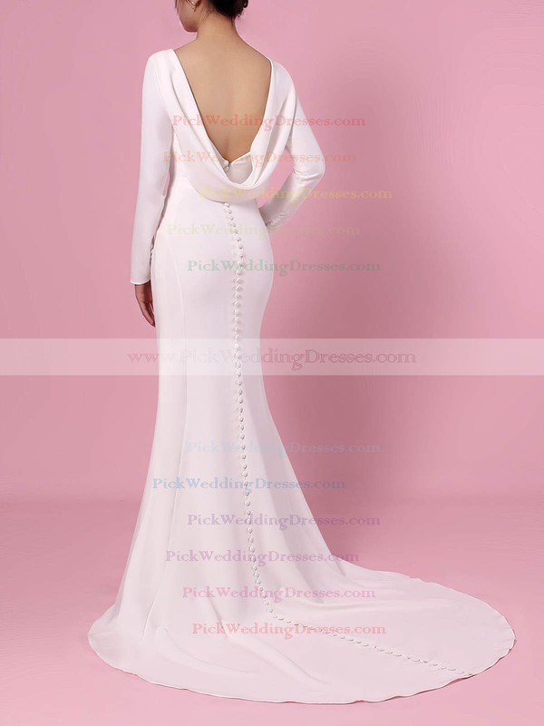 Trumpet/Mermaid Scoop Neck Silk-like Satin Sweep Train Wedding Dresses #PWD00023362