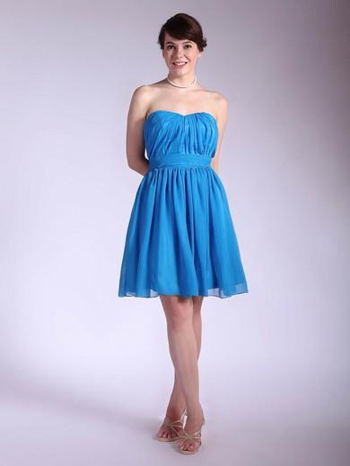 A-line Short/Mini Chiffon Pleats Sweetheart Bridesmaid Dresses #PWD02042145