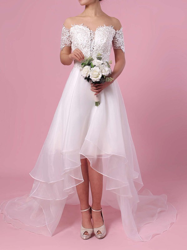A-line Off-the-shoulder Organza Asymmetrical Appliques Lace Wedding Dresses #PWD00023363