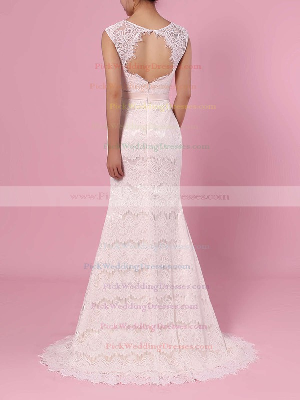 Trumpet/Mermaid Scoop Neck Lace Floor-length Sashes / Ribbons Wedding Dresses #PWD00023364