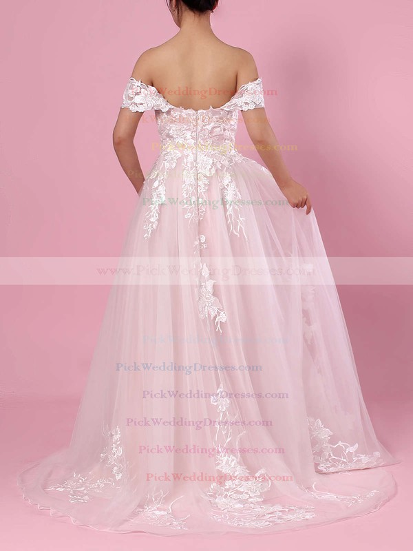 A-line Off-the-shoulder Tulle Sweep Train Appliques Lace Wedding Dresses #PWD00023365