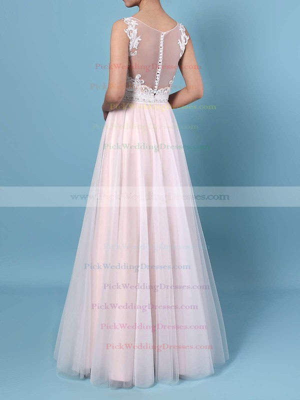 A-line V-neck Tulle Floor-length Beading Wedding Dresses #PWD00023366