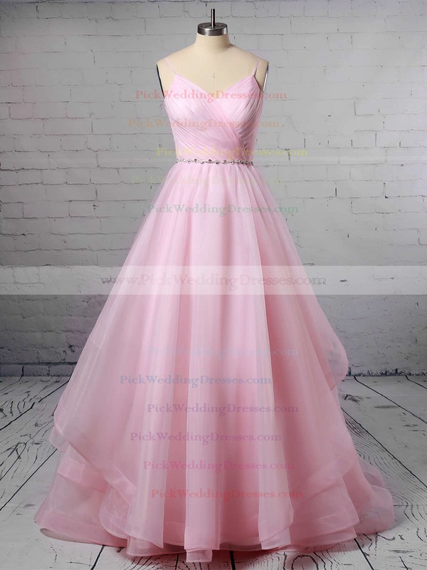 Ball Gown V-neck Organza Sweep Train Beading Wedding Dresses #PWD00023367