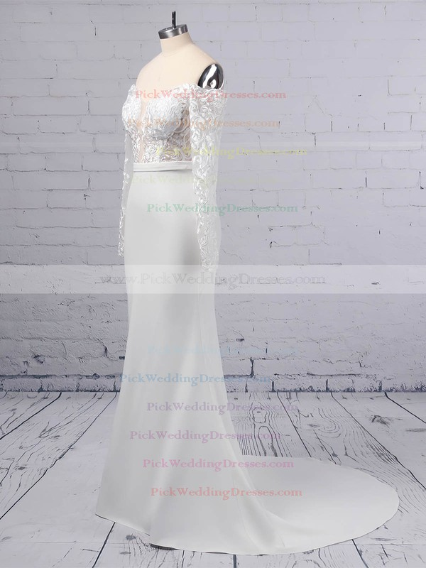 Trumpet/Mermaid Off-the-shoulder Tulle Satin Chiffon Sweep Train Appliques Lace Wedding Dresses #PWD00023368