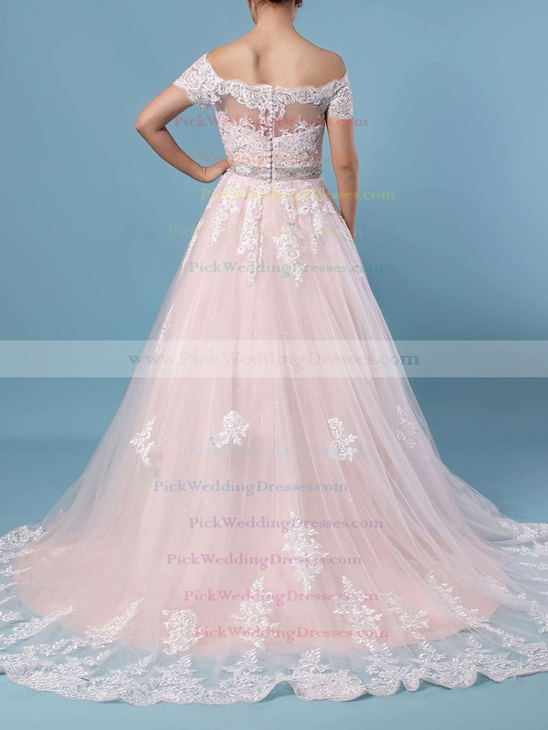 Ball Gown Off-the-shoulder Tulle Sweep Train Beading Wedding Dresses #PWD00023369