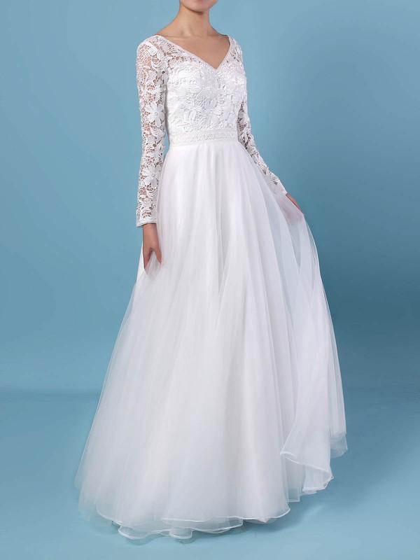 A-line V-neck Lace Tulle Floor-length Wedding Dresses #PWD00023370