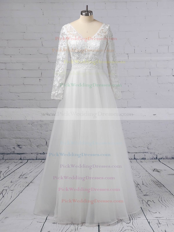 A-line V-neck Lace Tulle Floor-length Wedding Dresses #PWD00023370