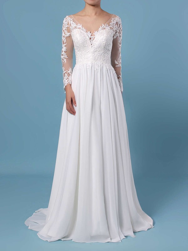 A-line V-neck Chiffon Tulle Sweep Train Appliques Lace Wedding Dresses #PWD00023371