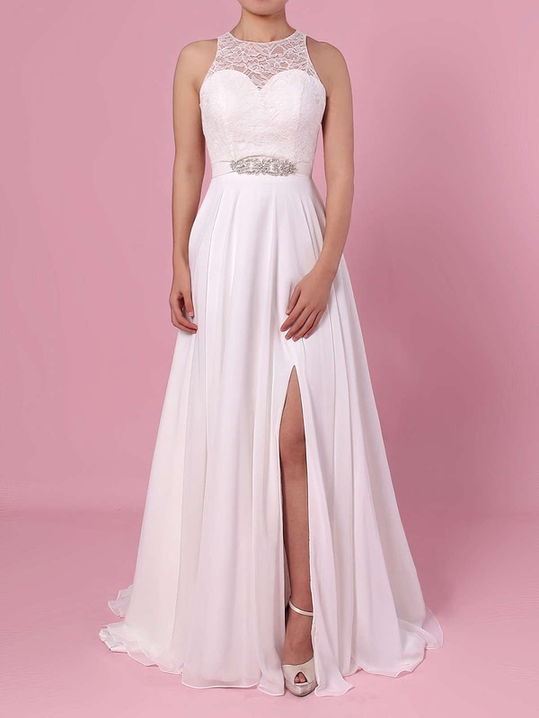 A-line Scoop Neck Lace Chiffon Floor-length Sashes / Ribbons Wedding Dresses #PWD00023372