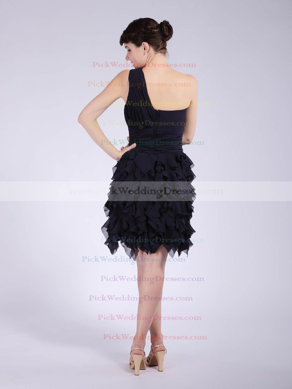 A-line Knee-length Chiffon Ruffles One Shoulder Bridesmaid Dresses #PWD02042147