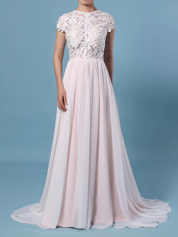 A-line Scoop Neck Lace Chiffon Floor-length Wedding Dresses #PWD00023373