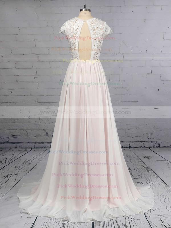A-line Scoop Neck Lace Chiffon Floor-length Wedding Dresses #PWD00023373