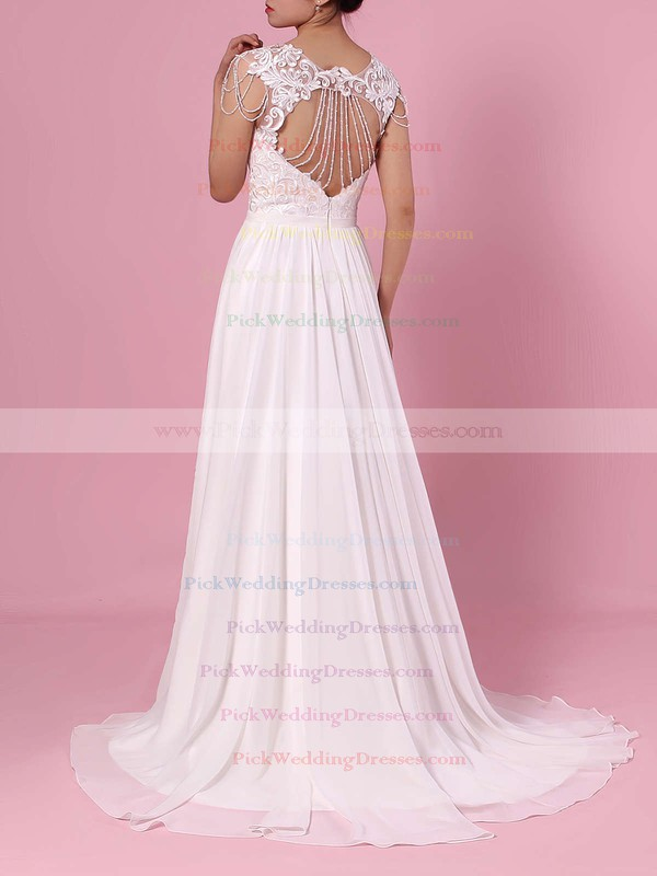 A-line V-neck Chiffon Tulle Sweep Train Beading Wedding Dresses #PWD00023374