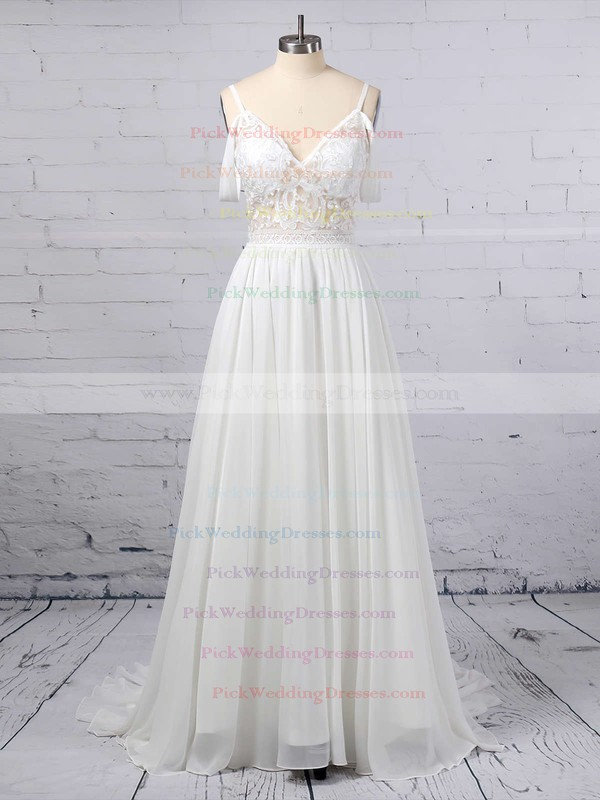 A-line V-neck Chiffon Sweep Train Lace Wedding Dresses #PWD00023377