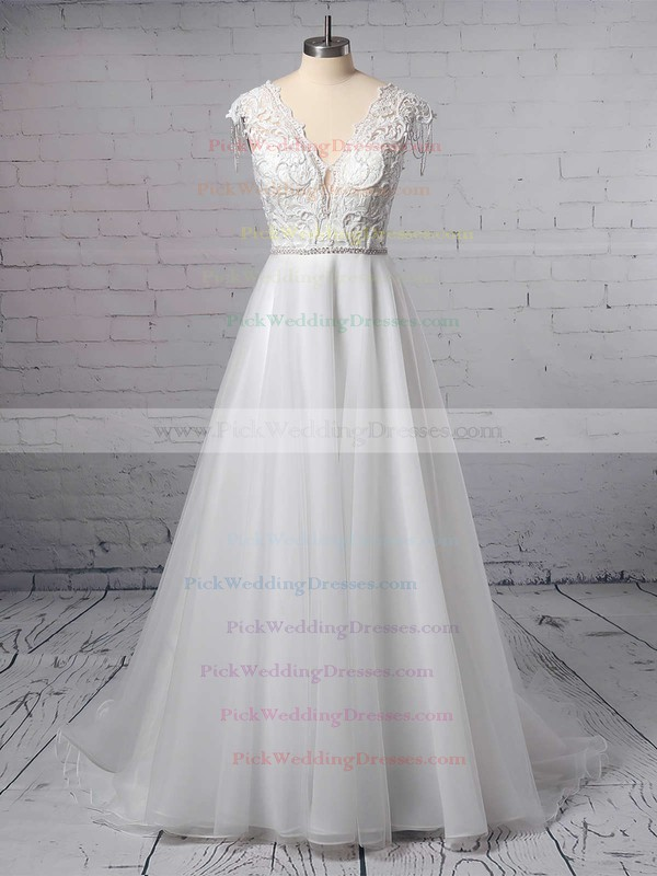 Princess V-neck Tulle Sweep Train Appliques Lace Wedding Dresses #PWD00023380