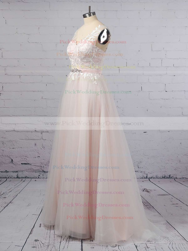 Princess V-neck Tulle Sweep Train Appliques Lace Wedding Dresses #PWD00023381