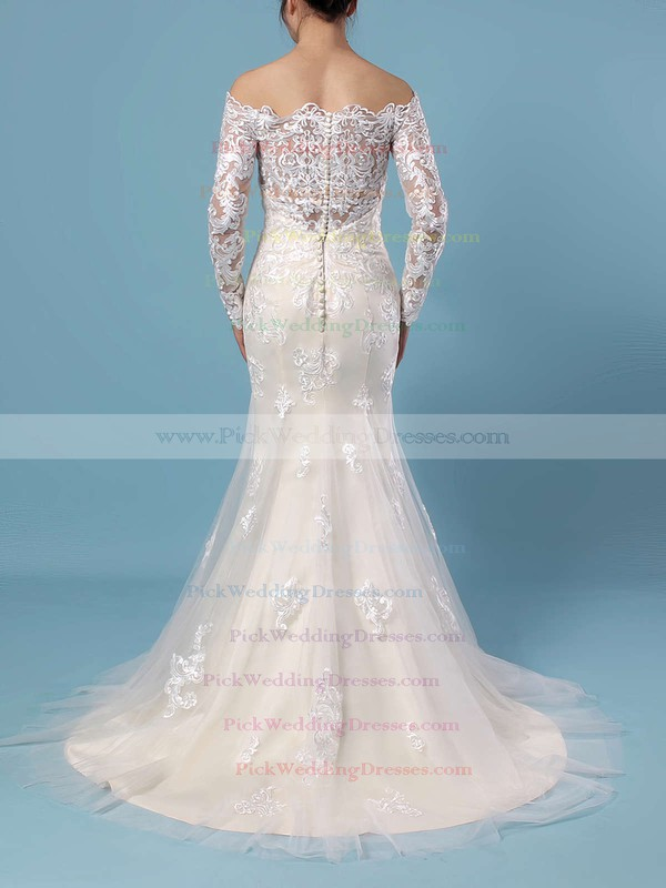 Trumpet/Mermaid Off-the-shoulder Tulle Sweep Train Beading Wedding Dresses #PWD00023385